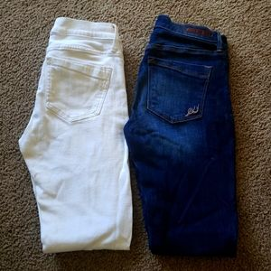 Expess stretch jeans, white is distressed